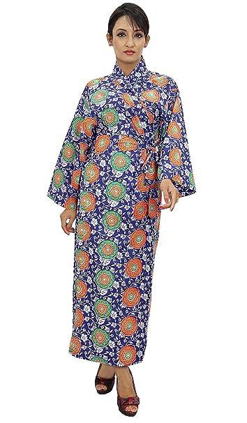 Impreso de algodón del traje de dama Wrap Crossover Batas abrigo del balneario: Amazon.es: Ropa y accesorios