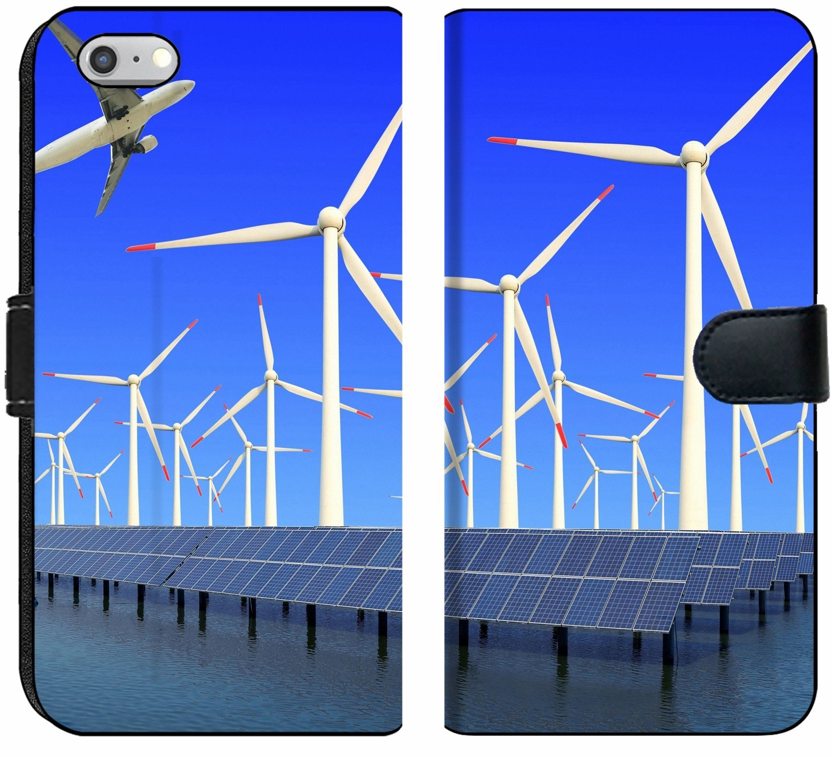 Apple iPhone 6 and iPhone 6s Flip Fabric Wallet Case Image ID 19576484 Aircraft is Flying in eco Power of Wind turbines and Solar Panel at c
