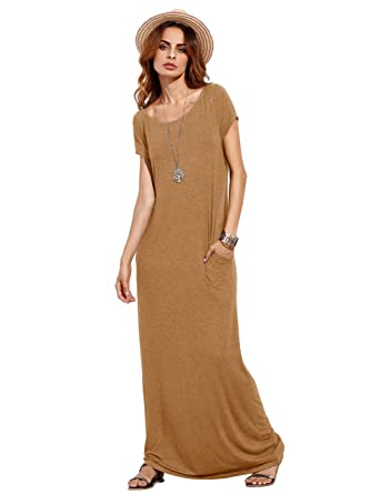 f0a6072d6ac MAKEMECHIC Women s Short Sleeve Loose Casual Plain Long Maxi Dress Yellow M