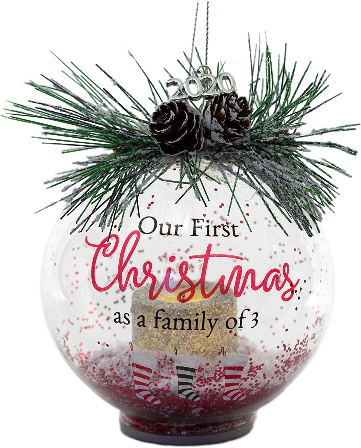 Our First Christmas as A Family of 3 - LED Lighted Glass Ball Ornament with Three Holiday Stockings - 1st Christmas as a New Family Silver 2020 Dated Charm Included - New Parents Mommy Daddy Keepsake