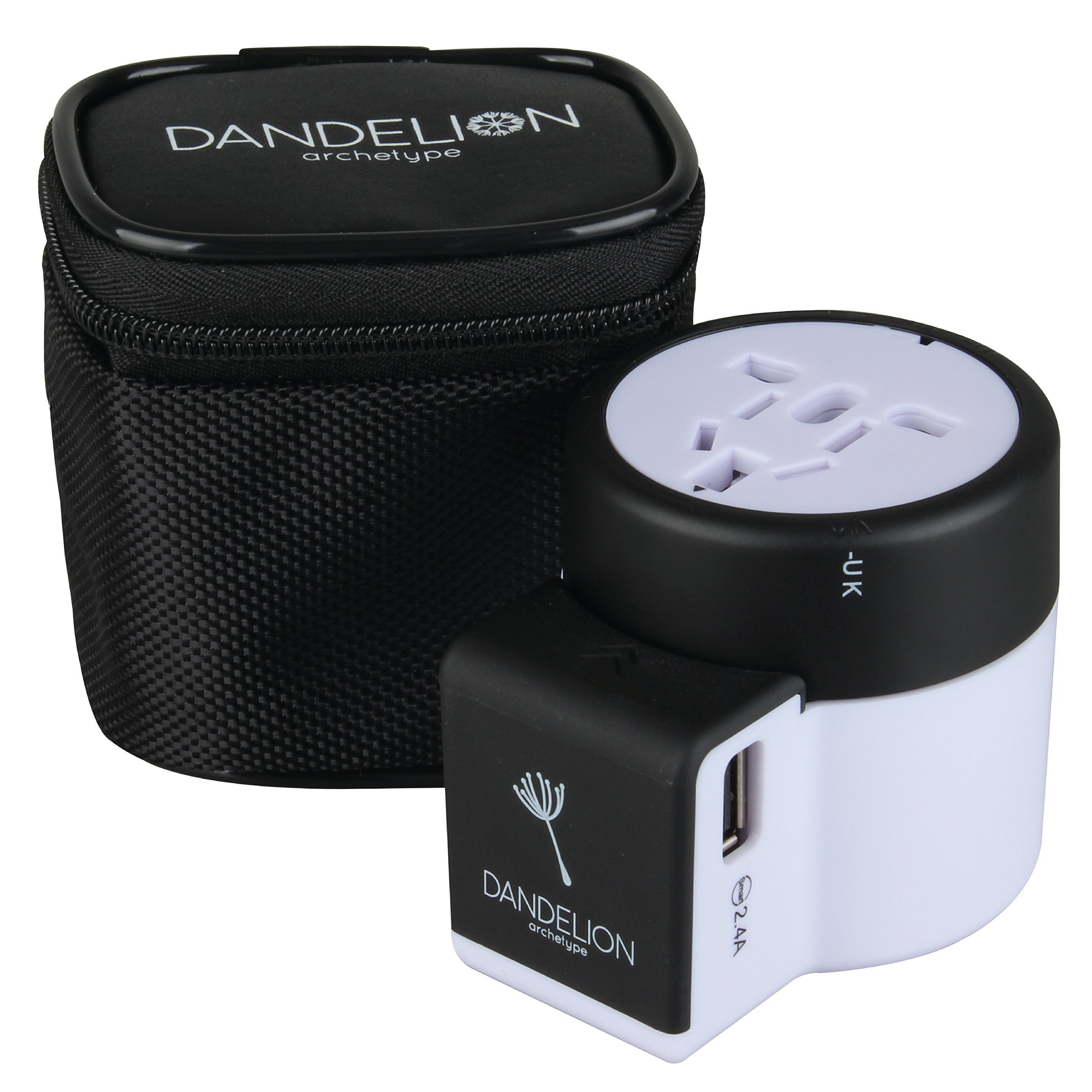 Dandelion Travel adapter Outlet adapter travel accessory with dual USB ports Universal Charger (UK, US, AU, Europe & Asia) International Power Plug Adapter with safety fuse - great travel gift (Black)