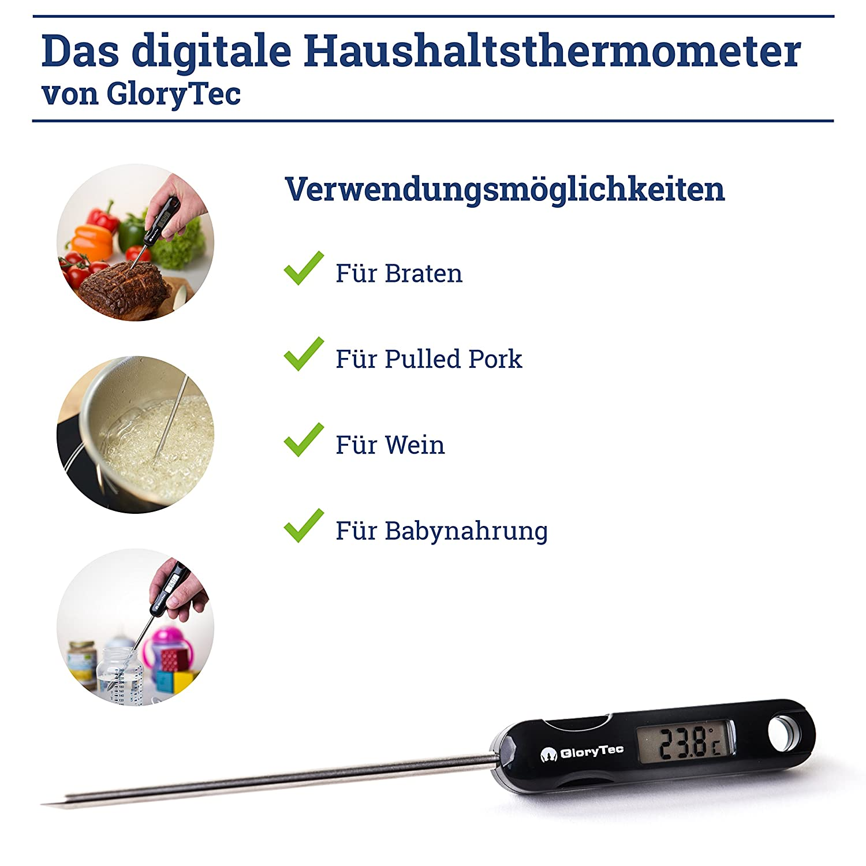 Termómetro de cocina digital de GloryTec - Termómetro de cocina de primera calidad ideal para cualquier tipo de cocina - Termómetro para asar al horno o a ...