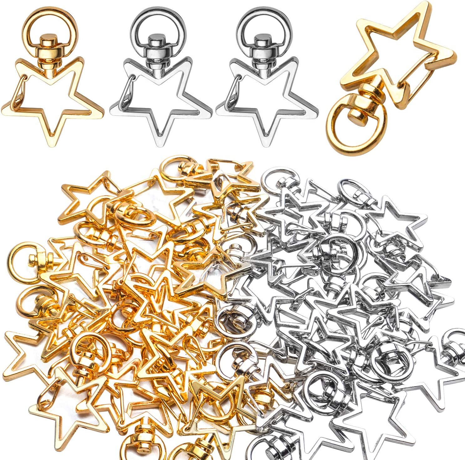 Swivel Clasps Clips,40pcs Metal Swivel Lobster Claw Clasp Star Shape Snap Hook Clip Small DIY Accessories for Crafting Keyrings Bags Jewellery-Gold,Silver