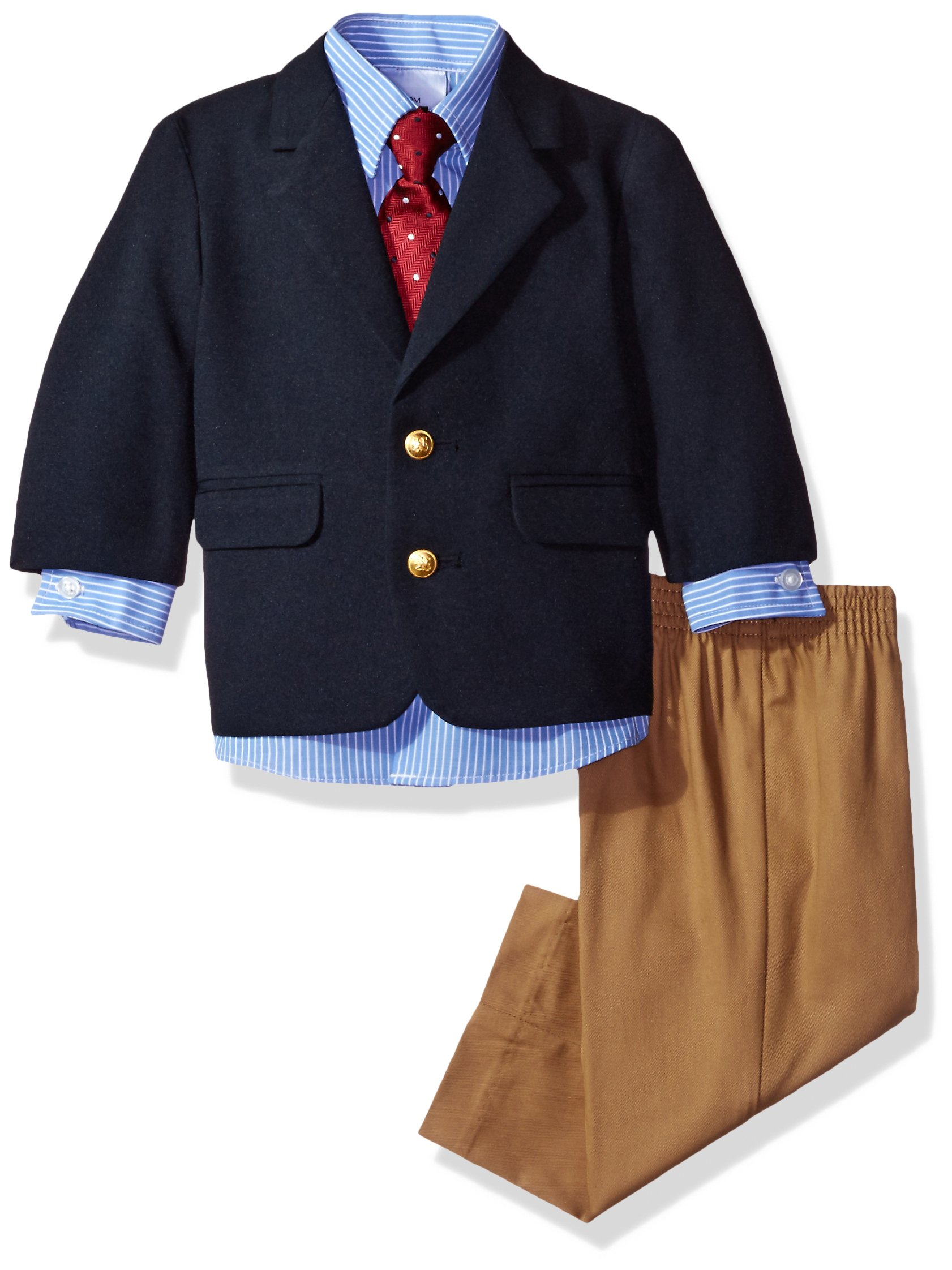 Nautica Boys' Suit Set with Jacket, Pant, Shirt, and Tie, Dark Blue, 18M by Nautica