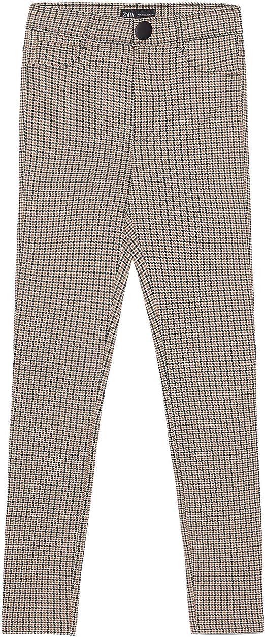 Zara 9815/222/087 - Leggins de Cuadros para Mujer con Cintura ...