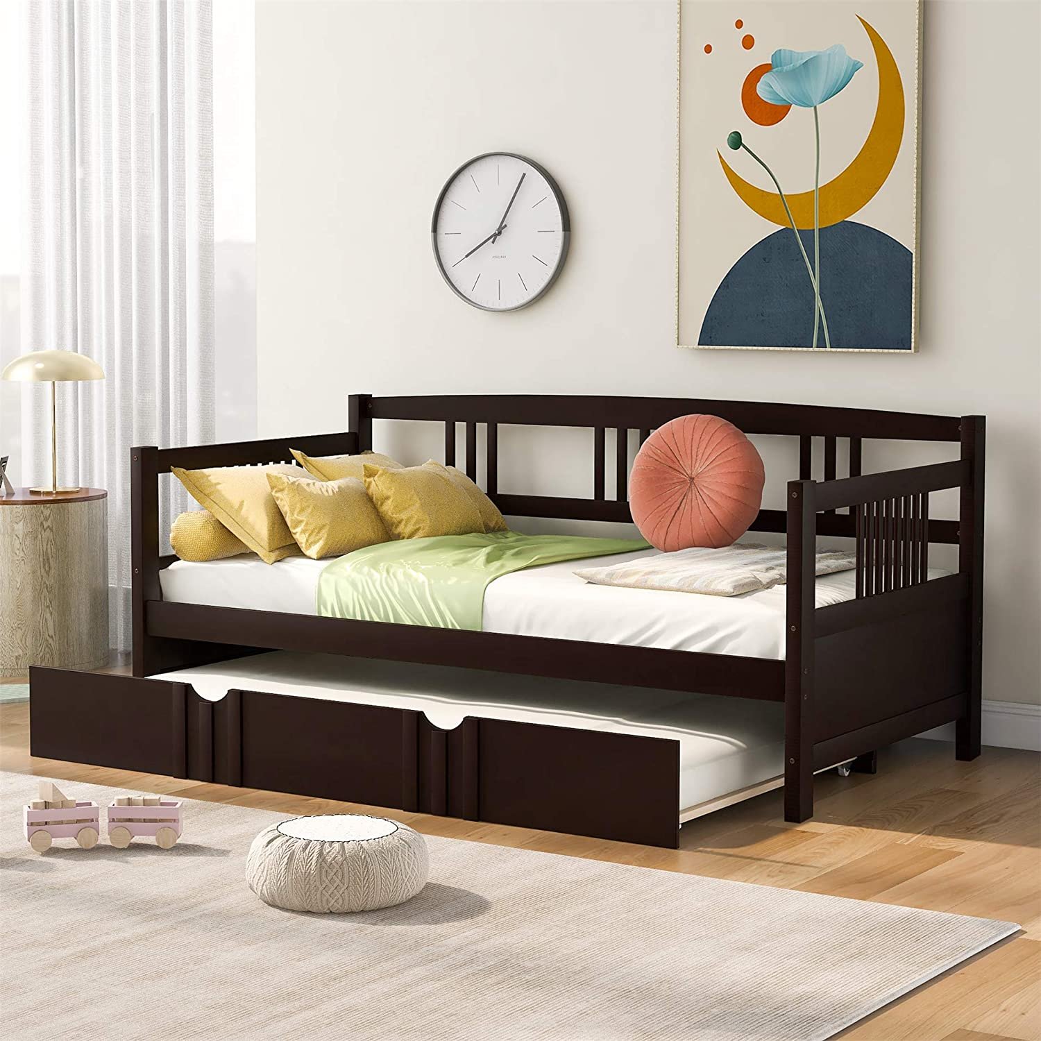 Wood Daybed With A Trundle Trundle Daybed Twin Size Standard Twin Bed Frame No Box Spring Required Espresso Trundle Daybed Kitchen Dining