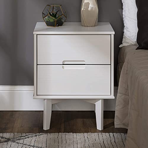 Walker Edison Furniture AZR2DSLNSWH Solid Wood 2-Drawer Groove Handle End Side Table Nightstand