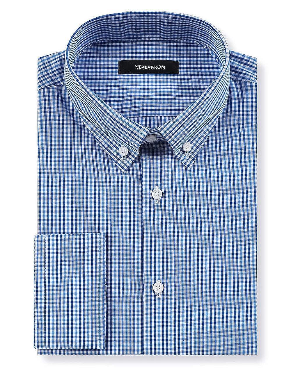 Amazon Yeabarron Custom Mens Blue Check Slim Fit Long Sleeve