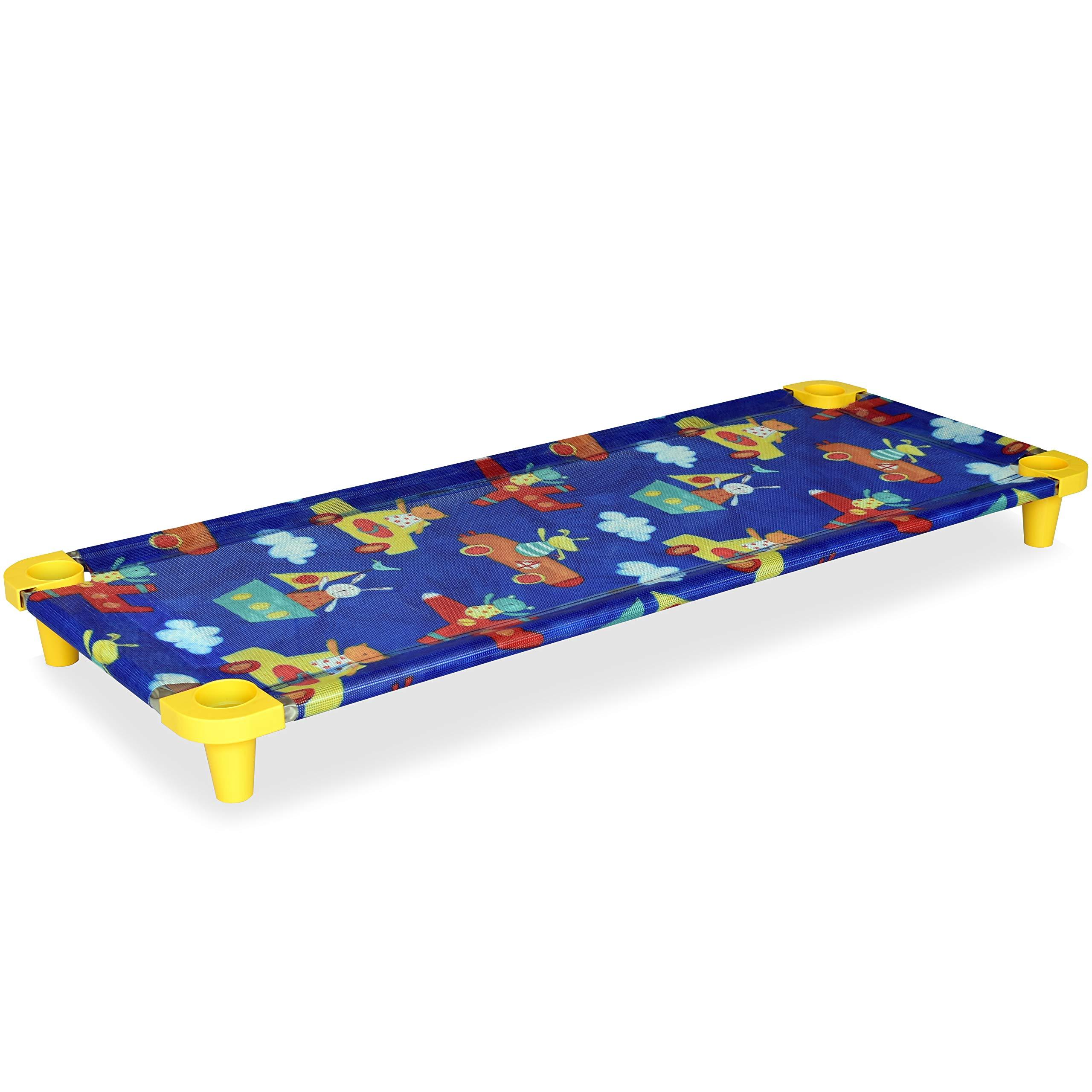 Acrimet Premium Stackable Nap Cot (Stainless Steel Tubes) (Blue Kids Pattern Design) (1 Unit) by Acrimet