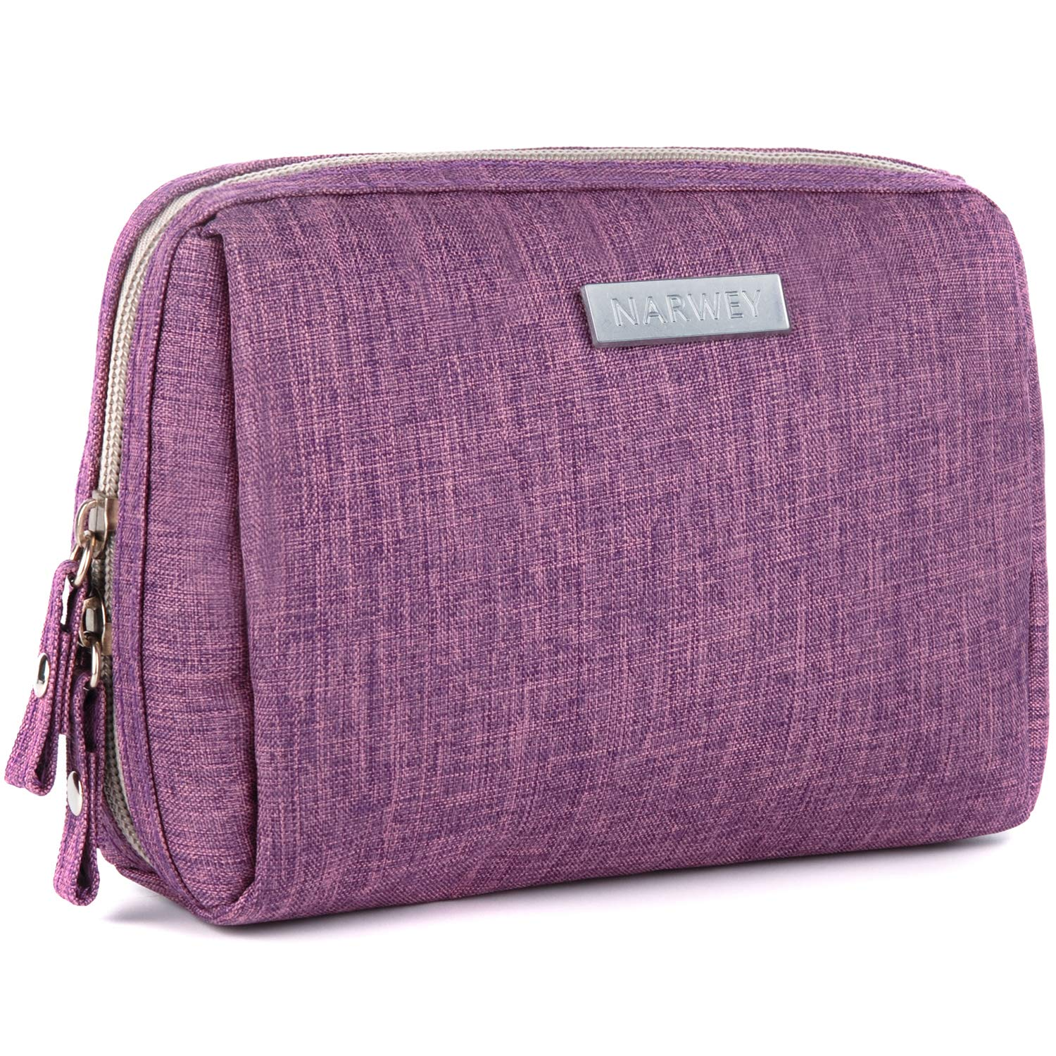 Small Makeup Bag for Purse Travel Makeup Pouch Mini Cosmetic Bag for Women Girls (Rectangle-Purple)