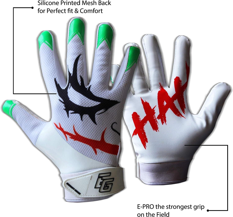 Eternity Gears Joker Football Gloves Tacky Grip Skin Tight Adult Football Gloves Enhanced Performance Football Gloves Men Pro Elite Super Sticky Receiver Football Gloves Adult Sizes