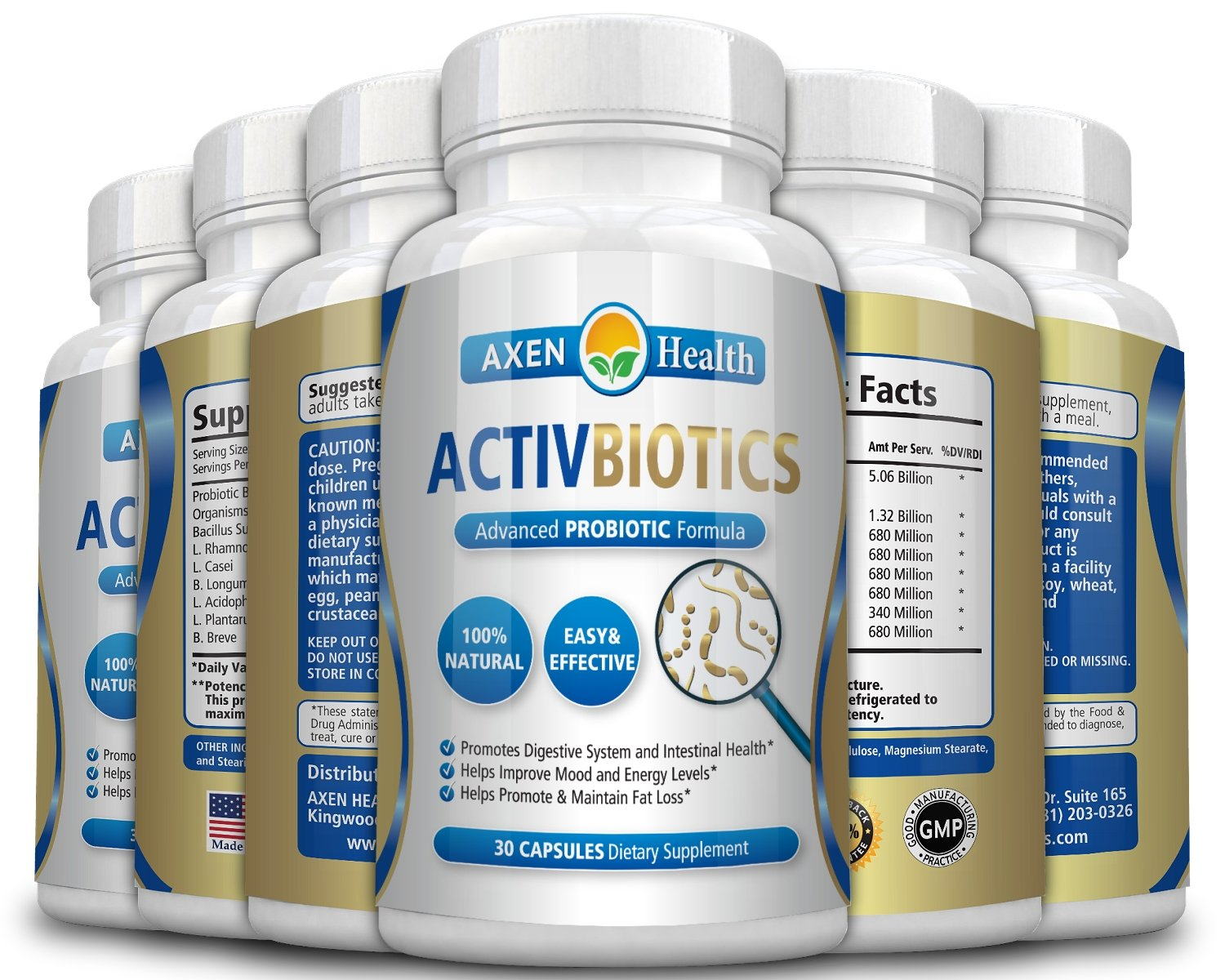 ActivBiotics ProBiotic - Promotes Healthy Digestion, a Strong Immune System & Optimum Overall Health * Potent, Effective & Guaranteed to Work or Your Money Back - (6 Pack)