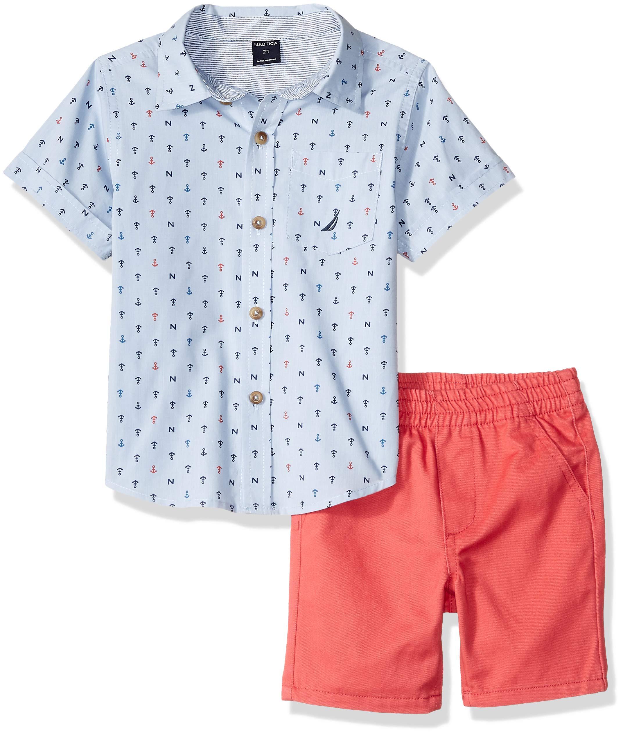 Nautica Sets (KHQ) Boys' Little 2 Pieces Shirt Shorts Set, Blue/Print, 5