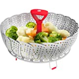 Vremi VRM020287N Vegetable Steamer Basket Stainless Steel for Large Small Pan Instant Pot-Steaming Tray Veggie Adjustable Handle, 7.3 x 3.4 x 7.3 inches, Red