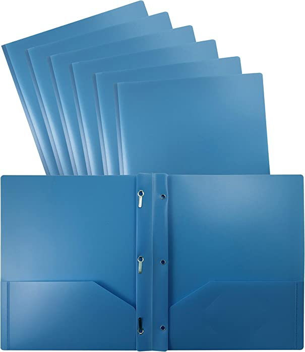 Better Office Products Light Blue Plastic 2 Pocket Folders with Prongs, 24 Pack, Heavyweight, Letter Size Poly Folders with 3 Metal Prongs Fastener Clips, Light Blue