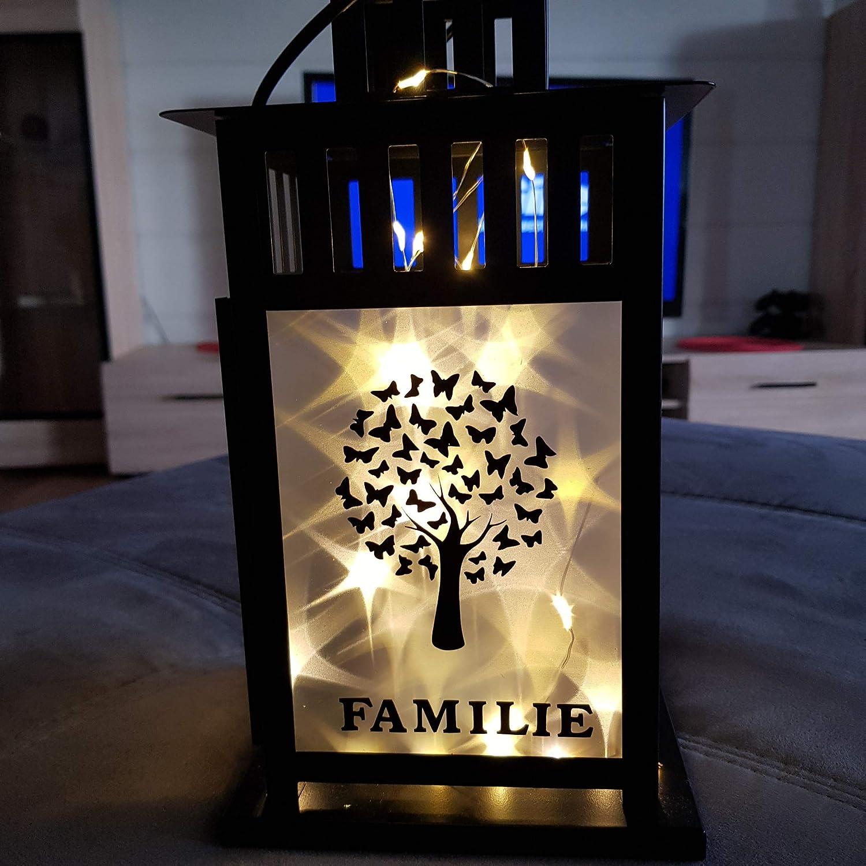 Laterne ca.28 cm mit LED Lichterkette und Spruch