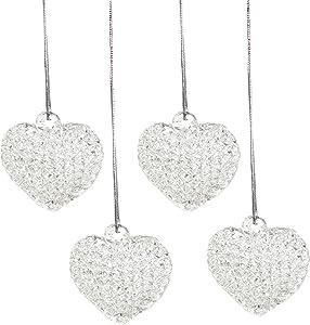 4E's Novelty Heart Shaped Glass Ornaments (Set of 12) Christmas/Valentine's Day Tree Décor, Holiday Decorations, Great Xmas Gift Idea