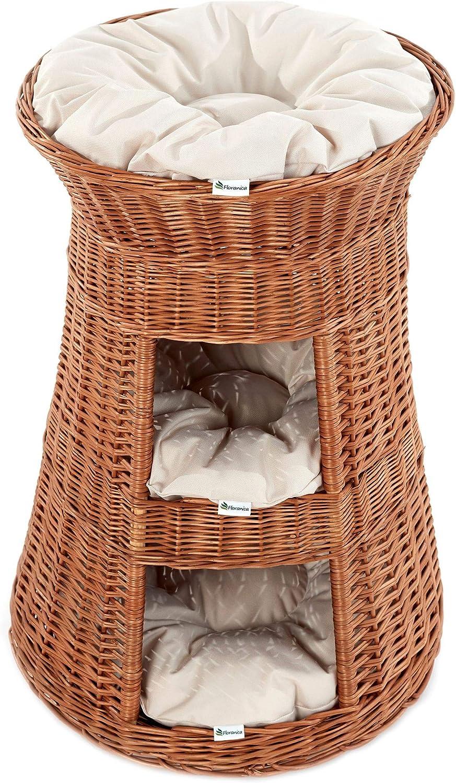Casa Mascotas, Torre para gato de sauce, mimbre europeo con 3 almohadas, Cojín color:claras;Cat tower model:nature tower