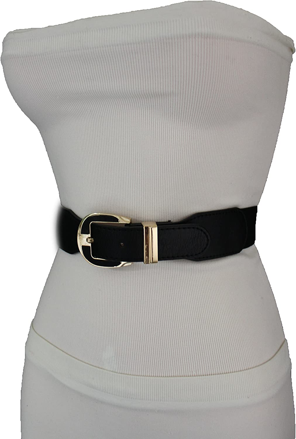 Women Elastic Belt Black Gold Wide High Waist Hip Faux Leather Band Fashion M L