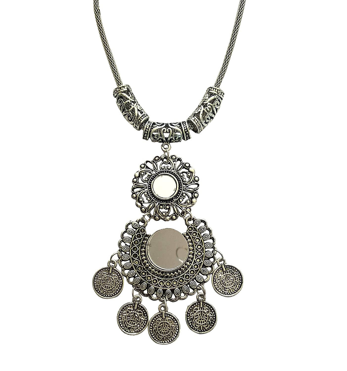 The Trendy Trendz India Bollywood Oxidized Silver Gypsy Style Mirror Pendant Long Chian Navratri Jewelry Set for Women and Girls