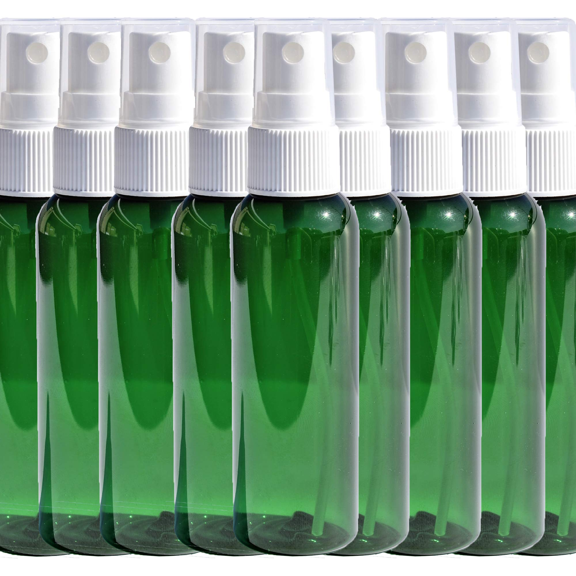 Travel Spray Bottles 2oz. Green PET Plastic Sets with White Fine Misting Sprayers For Essential Oils, Aromatherapy, Perfumes, Bug Repellant, Liquids (50) by Heluva Green