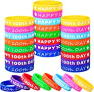 Gejoy 48 Pieces Happy 100th Day Silicone Wristbands Happy Rubber Bracelets Colored Stretch Wristbands for Party Favors, 8 Col