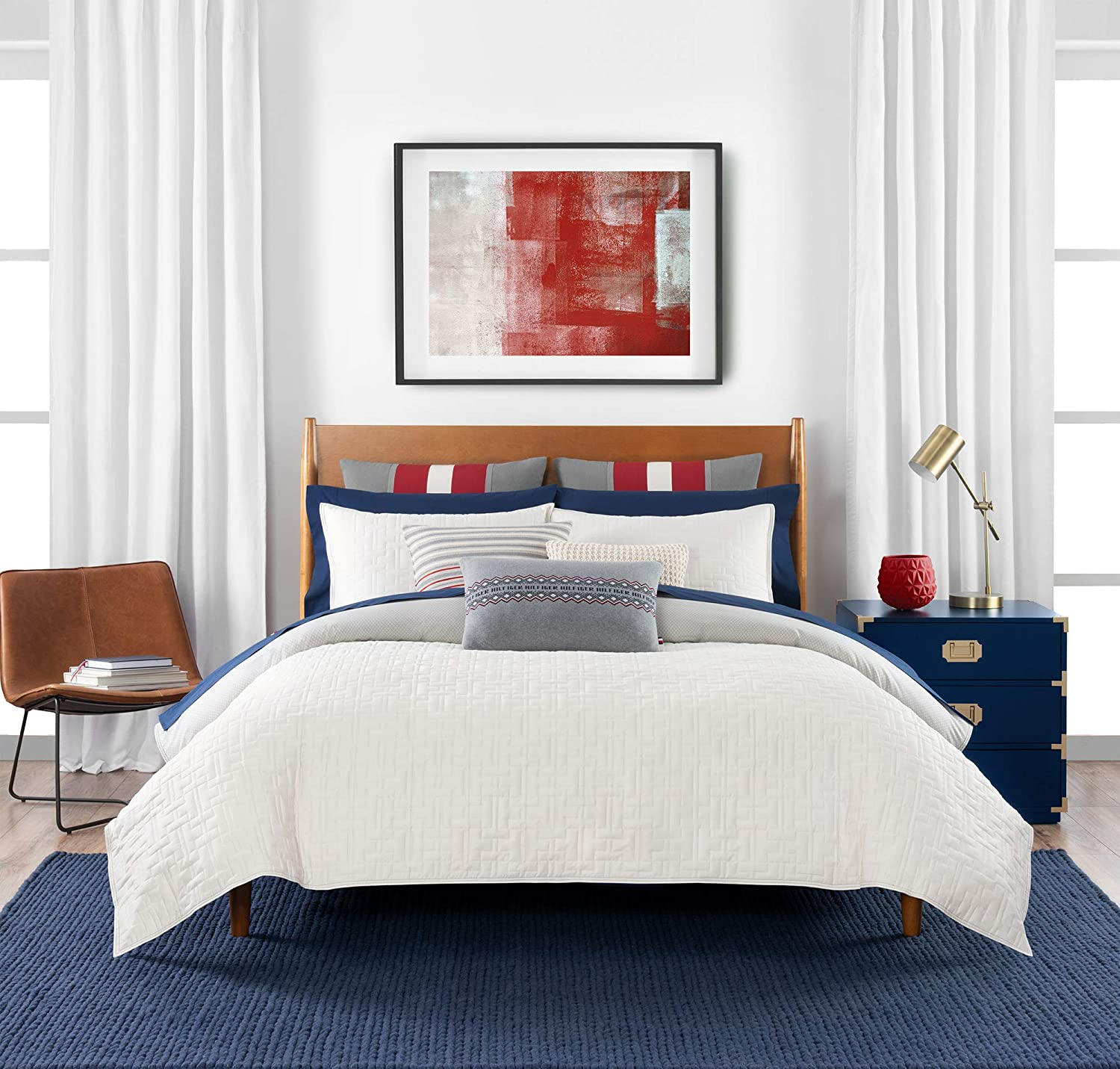 Tommy Hilfiger Quilted Monogram Bedding Collection Comforter Set, Full Queen, Ivory