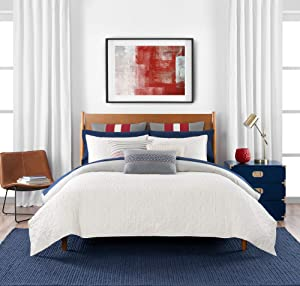 Tommy Hilfiger Quilted Monogram Bedding Collection Duvet Cover Set, Full Queen, Ivory