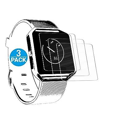 Ailun - Protector de pantalla para Fitbit Blaze, 3 unidades, vidrio templado para reloj