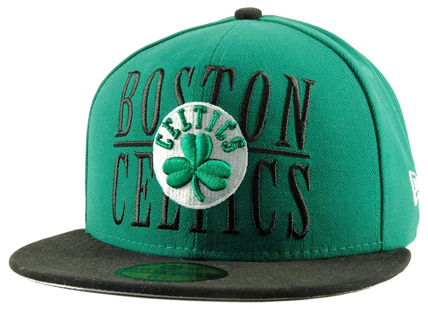 b4d5813708 Boston Celtics NBA Green / Black Step Over New Era 59Fifty Fitted Baseball  Cap Size 7: Amazon.co.uk: Clothing