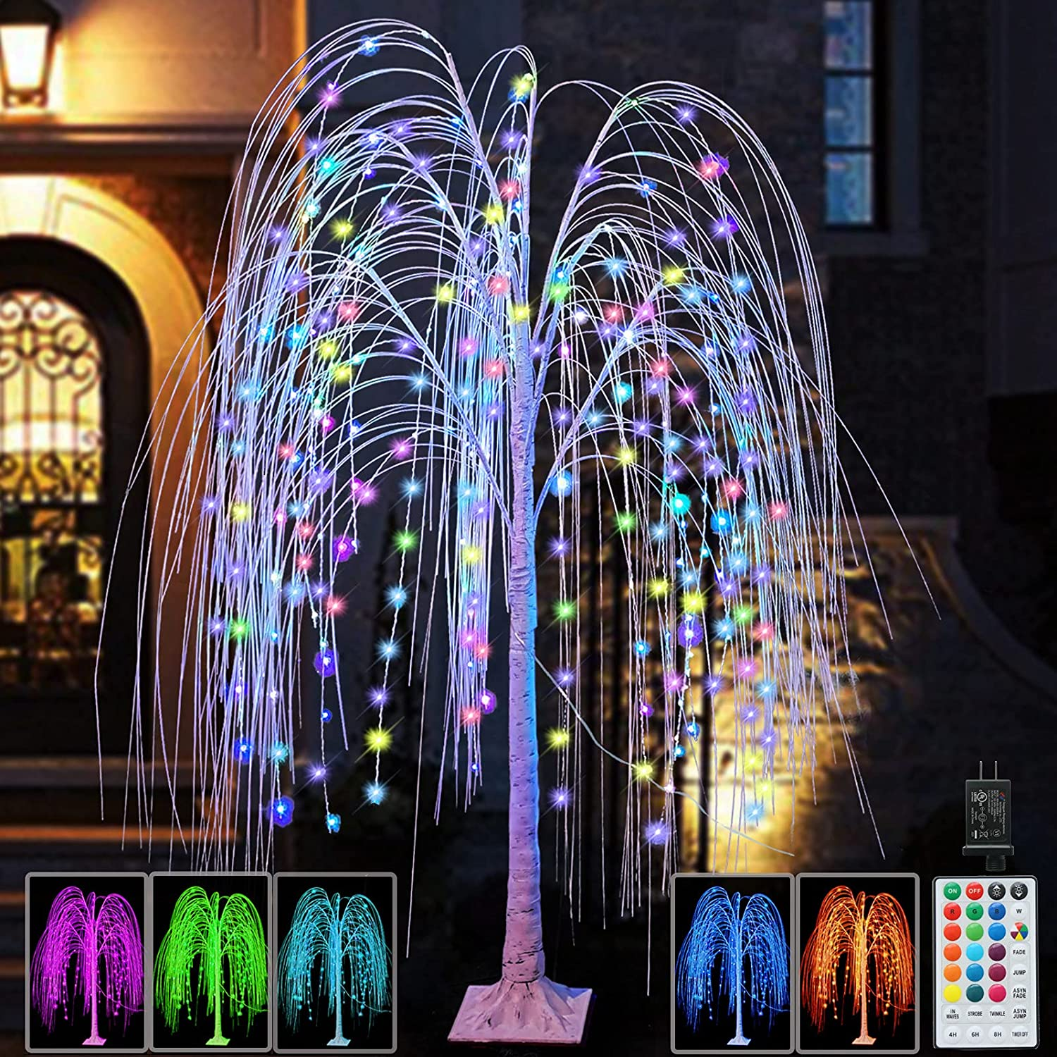 288LED 6FT Lighted Willow Tree Christmas Decoration Color Changing Tree with Purple and Pink String Lights Remote Timer for Halloween Wedding Party Home Garden Decor,Indoor and Outdoor Use