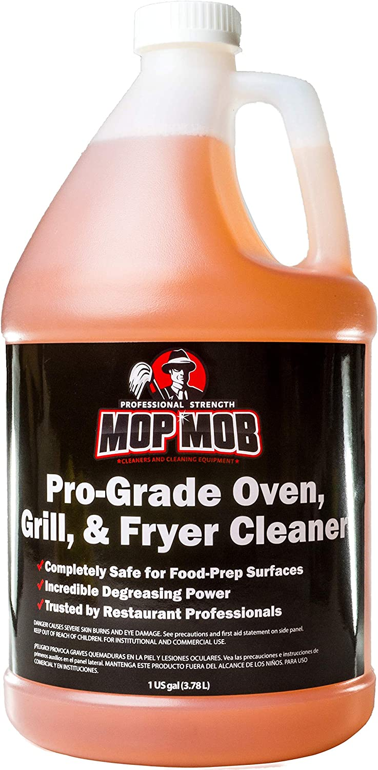 Mop Mob Pro-Grade Grill Cleaner Liquid 1 Gallon. Food-Safe Ultra-Strong Eliminates Baked-On Grease & Carbon. Use Concentrate on Ovens, Cast Iron Cooktops, Stainless Steel Flat Tops & Deep Fryers