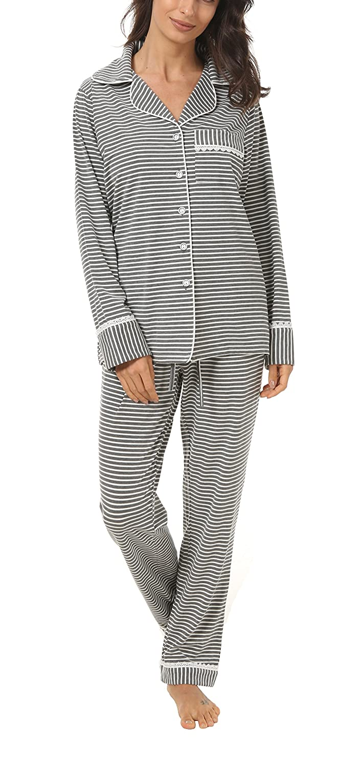 Espoir Womens 2 Piece Classic Cotton Long Sleeve Button-Down Soft Pajama Set CA-PJ001