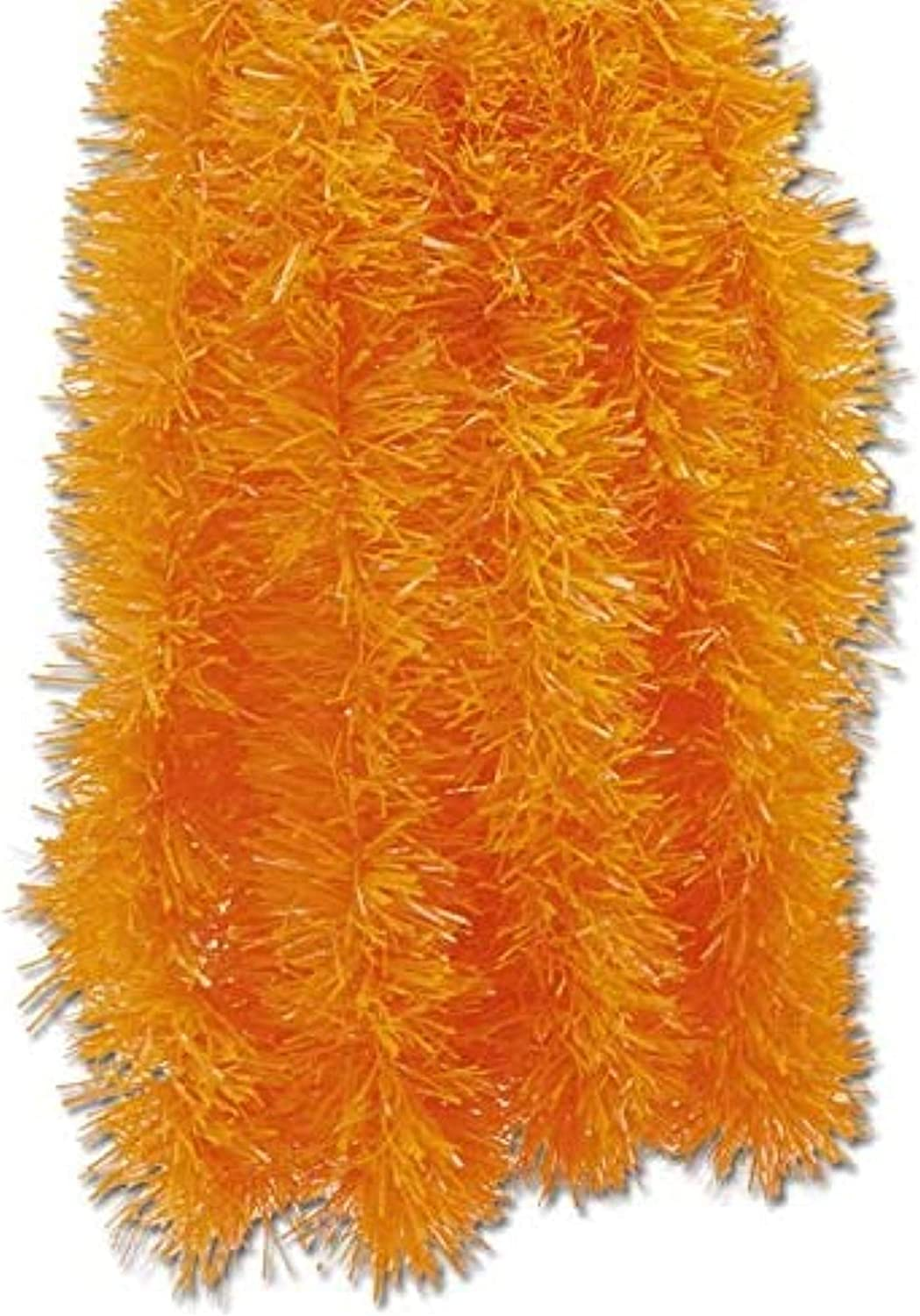 Fix Find - Orange Tinsel Garland (15ft Long x 2.25in Thick) - Elegant Hanging Metallic Holiday Tinsel Garland for Halloween & Party Decorating