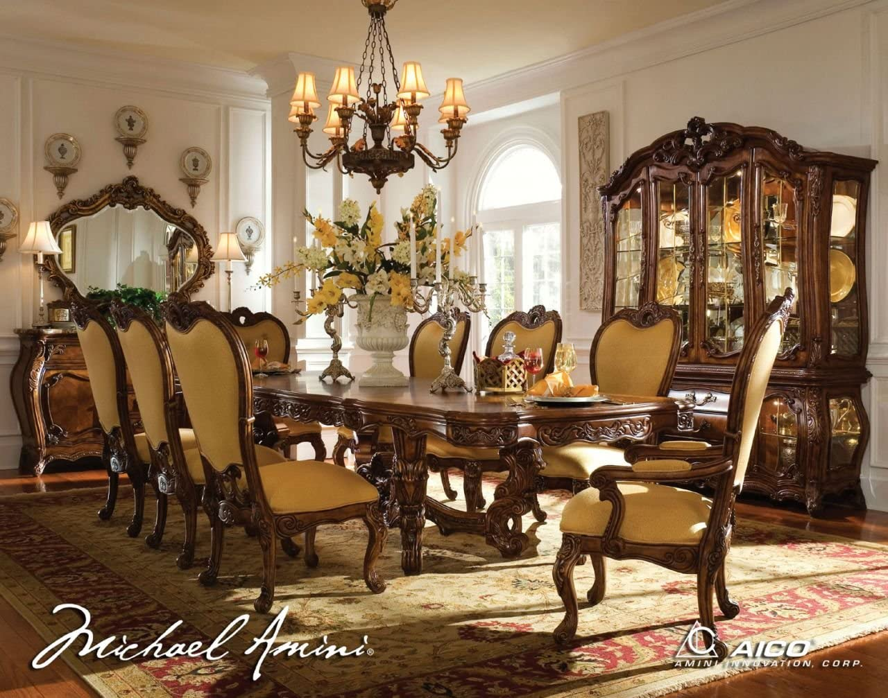 Amazon Com Aico 11 Pc Palais Royale Rectangular Dining Table Set Rococo Cognac 35 71002 Set2 Table Chair Sets