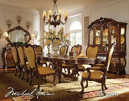 Bon 11 Pc Palais Royale Rectangular Dining Table Set By AICO   Rococo Cognac    35