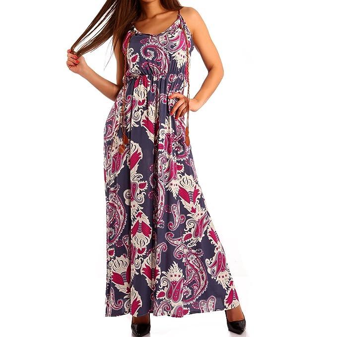 Young-Fashion - Vestido - con Cortes - Paisley - Sin Mangas - para Mujer