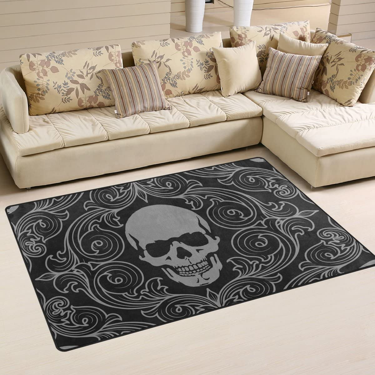 LORVIES Skull Pattern Area Rug Carpet Non-Slip Floor Mat Doormat