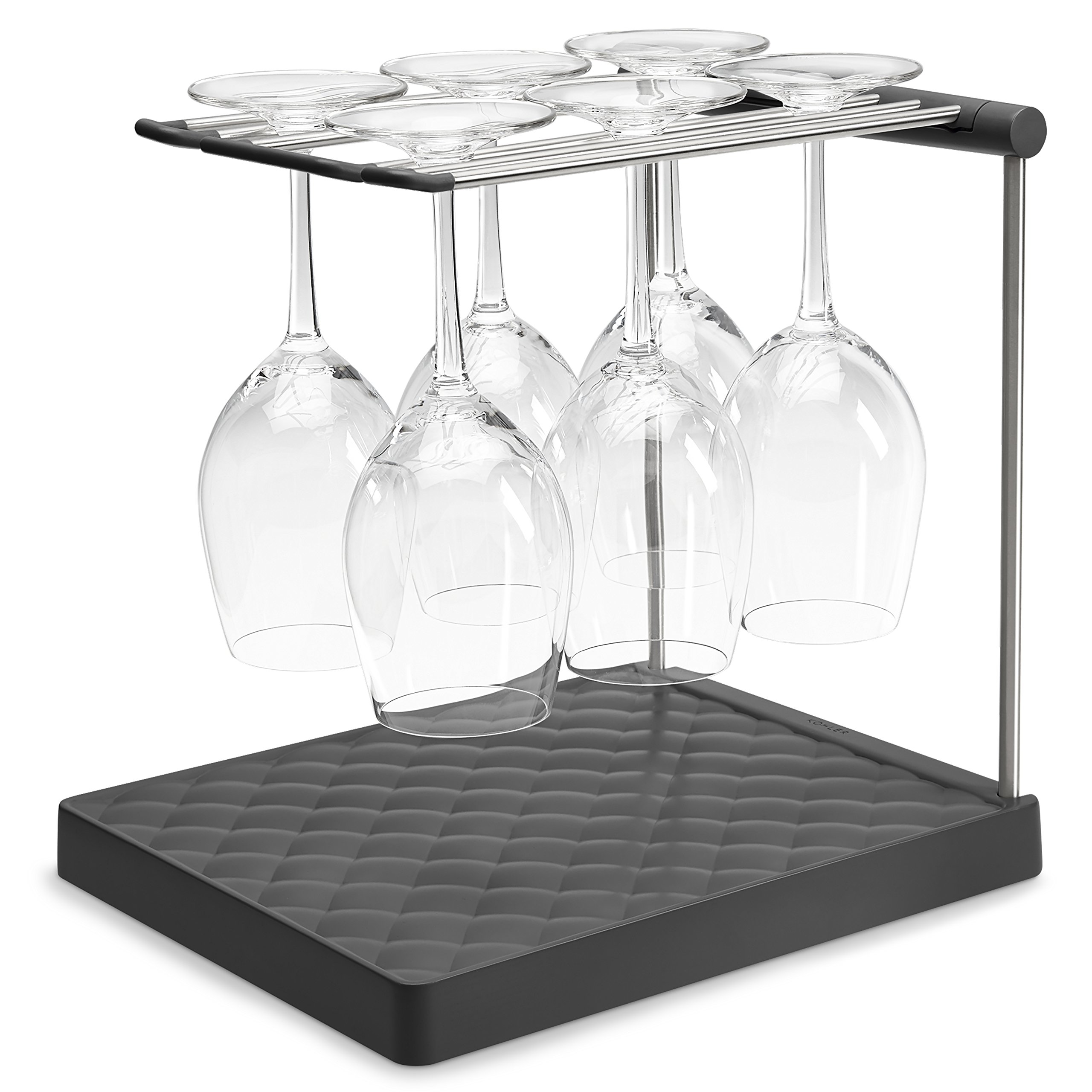 KOHLER Collapsible Wine Glass Holder or Drying Rack. Collapsible to 1.25'', Holds Up To 6 glasses, Charcoal