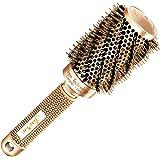 Meilleure brosse à cheveux ronde avec poils en sanglier naturels pour sèche-cheveux (4,5 cm) - Outil élégant de cheveux de qualité de salon profession pour Cheveux en bonne santé, soyeux, lisses