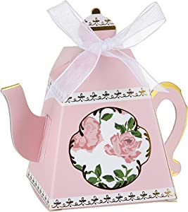 Kate Aspen, Tea Time Whimsy Collection, Teapot Tea Party Favor Box (Set of 24), One Size, Pink
