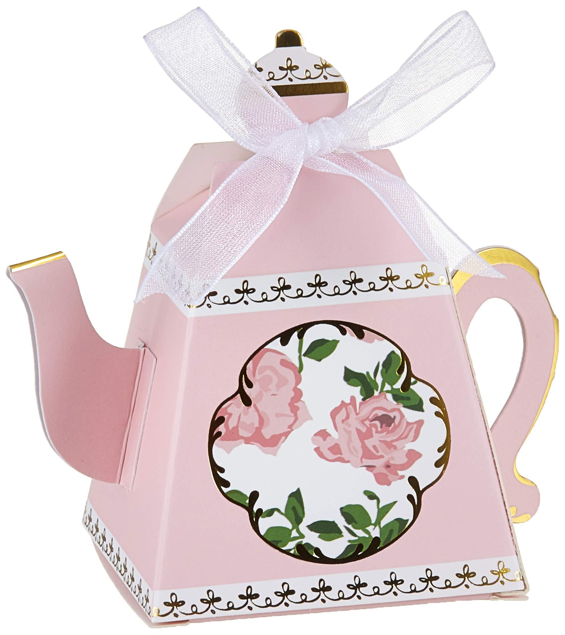 Kate Aspen, Tea Time Whimsy Collection, Teapot Tea Party Favor Box (Set of 24), One Size, Pink by Kate Aspen