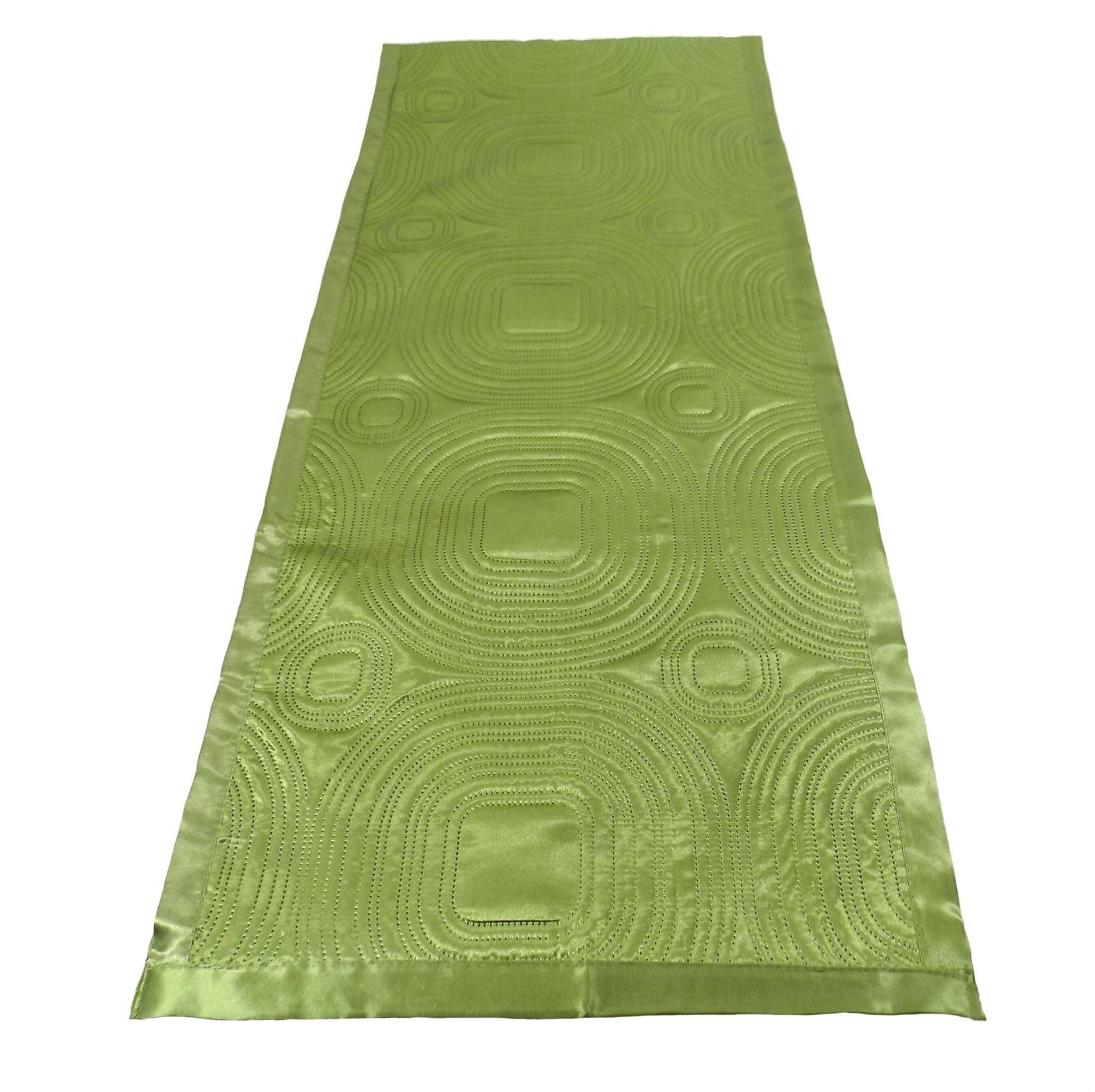 LUXURIOUS GREEN SATIN EMBOSSED LONG BEDROOM BED RUNNER 45 X 220CM - 18'' X 86''