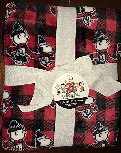 f5e262dc21 snoopy charlie brown Plaid Throw Blanket - 55 quot  x 70 quot  (holiday  christmas)