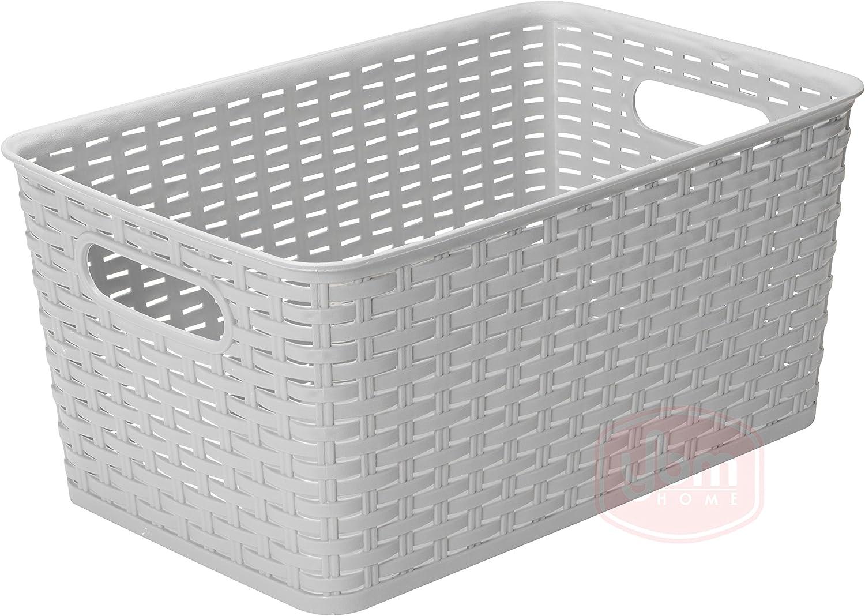 YBM HOME Plastic Rattan Storage Box Container Open Bin Basket Closet Shelf Kitchen Cabinet Pantry Office Desktop Organizer ba426-gray (Large, Gray)
