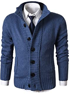 MIEDEON Mens Casual Stand Collar Cable Knitted Button Down Cardigan Sweater 22ac025db