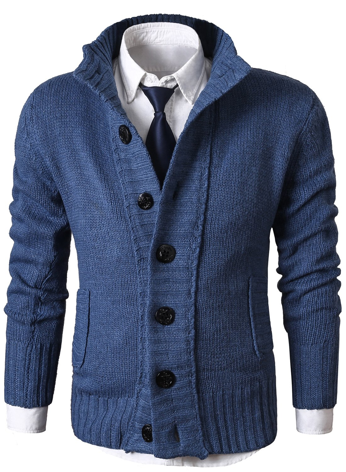 MIEDEON Mens Casual Stand Collar Cable Knitted Button Down Cardigan Sweater (M, Blue2)
