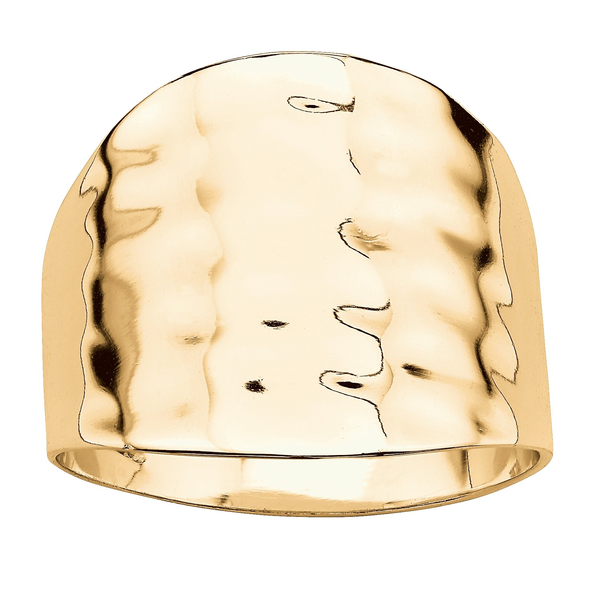 Lux 14k Yellow Gold-Plated Hammered-Style Cigar Band Ring