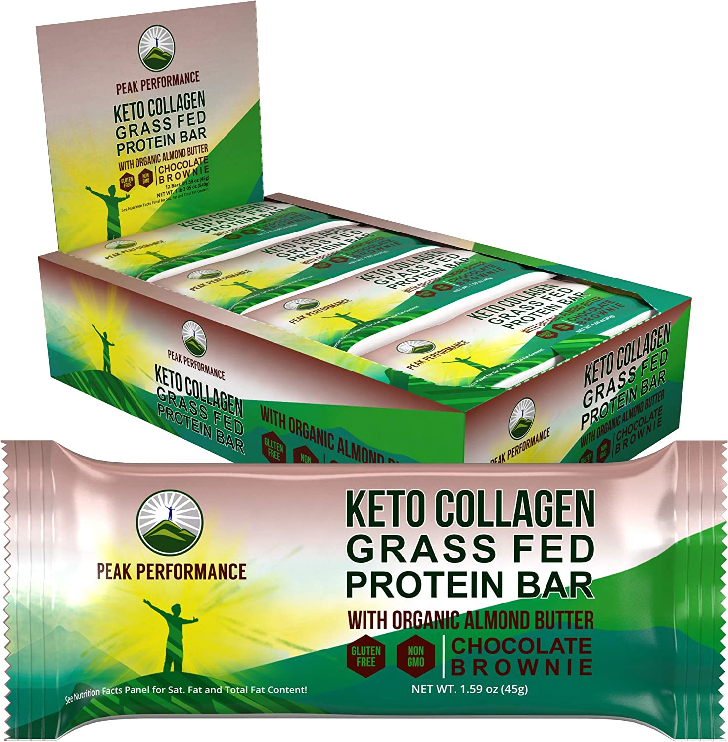 Keto Bars - Grass Fed Collagen + Bone Broth Keto Protein Bars with Organic Almond Butter. 12 Pack Keto Protein Bar Snacks No Added Sugar. 4 Flavors Keto + Paleo Perfect Snack Bar. Chocolate Brownie