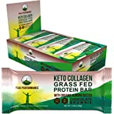 Keto Bars - Grass Fed Collagen + Bone Broth Keto Protein Bars with Organic Almond Butter. 12 Pack Keto Protein Bar Snacks No
